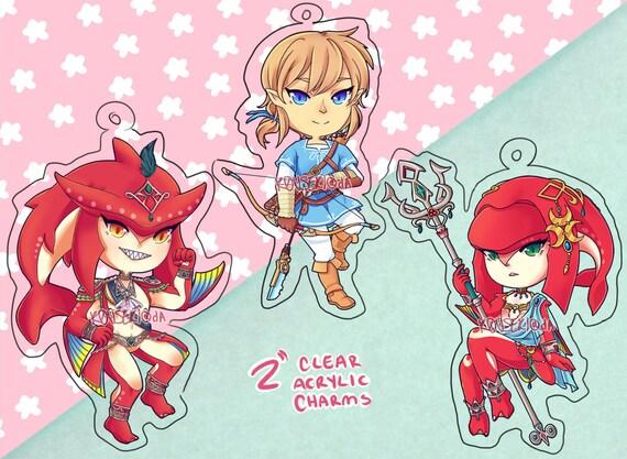 Zelda Botw 2 Inch Clear Acrylic Charms Keychains Link Zelda And Sidon