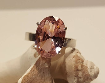 Pink Sapphire Solitaire Ring, Lab Created