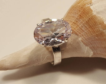Sparkling Lab Created Clear Sapphire Solitaire Ring