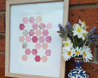 Pink hexagons on canvas