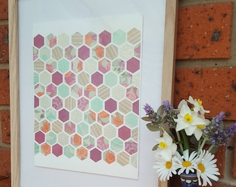 Maroon, green & gold hexagons on canvas