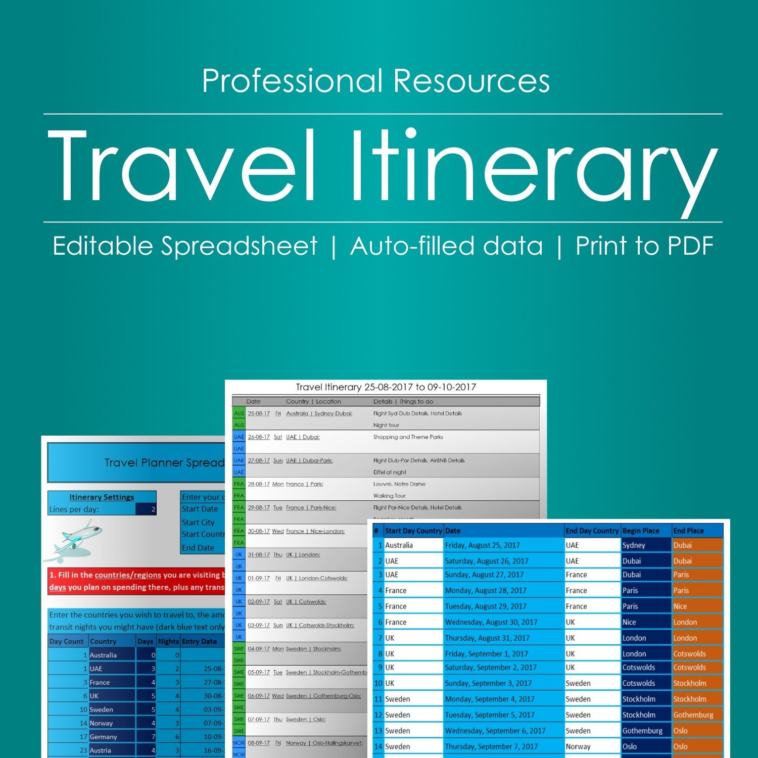 Travel Itinerary Planner Editable Spreadsheet  Etsy