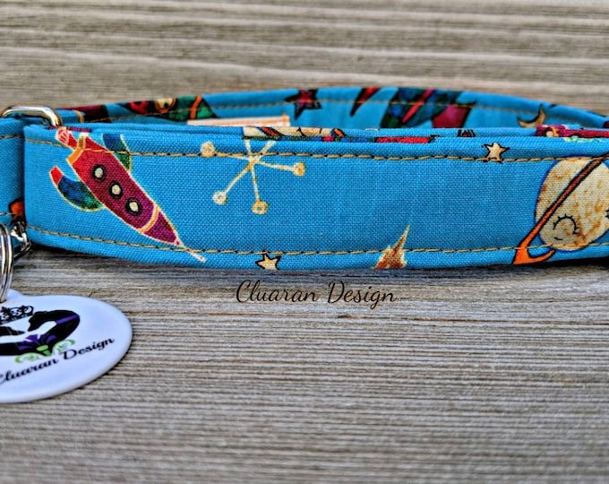 Rockets on Blue - Metal Buckle Dog Collar or House/Tag Collar - Space Dog Collar - Planets Dog Collar - Rockets Dog Collar