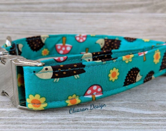 Hedgehog Floral - Metal Buckle Dog Collar or House/Tag Collar - Hedgehog Dog Collar - Fashion Dog Collar - Fabric Dog Collar