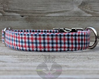 Patriotic Red White Blue Mini Gingham - Metal Buckle Dog Collar or House/Tag Collar - American Dog- Flag Dog Collar - Memorial Day Dog