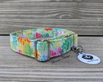 Succulents - Metal Buckle Dog Collar or House/Tag Collar - Succulents Dog Collar - Cactus Dog Collar - Fabric Dog Collar - Girl Dog Collar