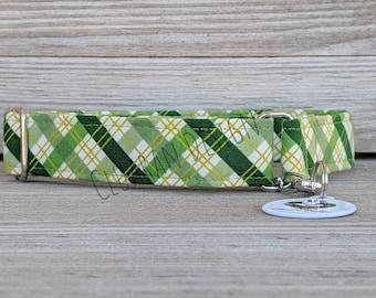 Green Plaid - Metal Buckle Dog Collar or House/Tag Collar - Green Plaid Dog Collar - Saint Patrick Dog Collar - St. Patrick Dog Collar
