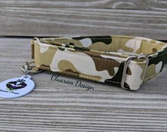 Green and Tan Camo - Metal Buckle Dog Collar or House/Tag Collar - Military Dog Collar - Camo Dog Collar - Fabric Dog Collar