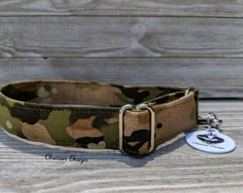 Green and Brown Camo - Metal Buckle Dog Collar or House/Tag Collar - Military Dog Collar - Camo Dog Collar - Fabric Dog Collar