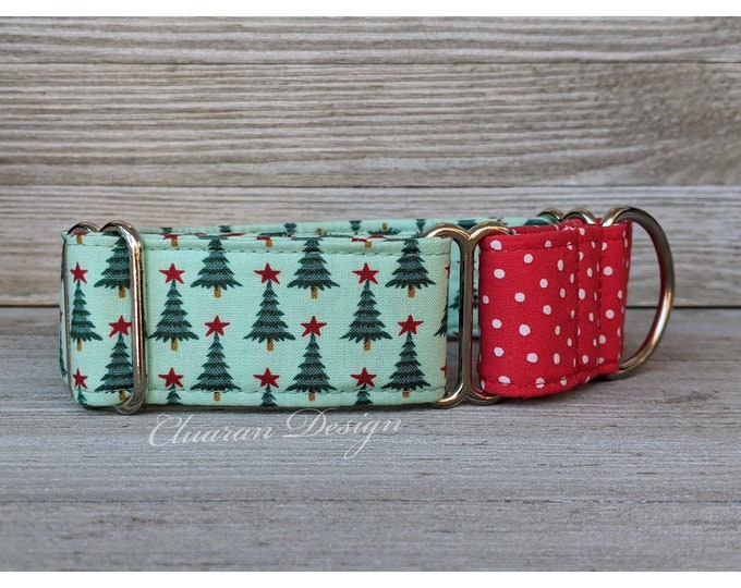 Christmas Trees Martingale Dog Collar - Christmas Winter Martingale Collar - Greyhound Collar - Whippet Collar - Italian Greyhound Collar