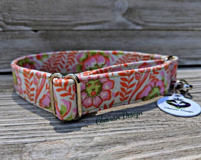 Whimsical Flowers Orange - Metal Buckle Dog Collar or House/Tag Collar - Floral Dog Collar - Wonderland Dog Collar - Fabric Dog Collar