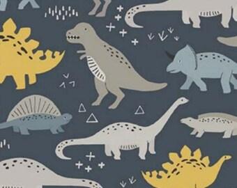 Dinosaurs on Gray - Metal Buckle Dog Collar or House/Tag Collar - Dinosaurs Dog Collar - T-Rex Dog Collar - Dino Dog Collar