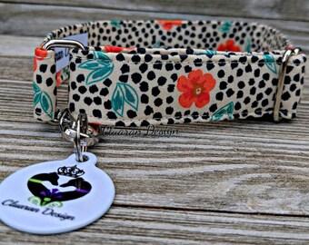 Leopard Poppy - Metal Buckle Dog Collar or House/Tag Collar - Poppies Dog Collar - Poppy Dog Collar - Leopard Dog Collar - Fabric Collar
