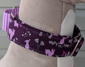 Plum Floral Bunnies - Martingale Dog Collar - Easter Martingale Dog Collar - Greyhound Collar - Whippet Collar - Italian Greyhound Collar