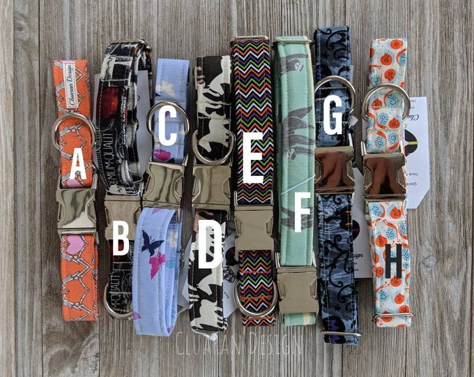 """Ready to Ship, 1"""" Wide Quick Release Buckle Collars Group E - Size Large Dog Buckle Collars - Dog Gifts"""