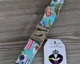 """Ready to Ship, 1"""" Wide Quick Release Buckle Collars Group D - Size X-Large Dog Buckle Collars - Dog Gifts"""