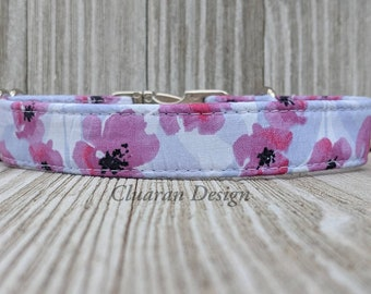 Purple Poppies/Poppy Flowers Metal Buckle Dog Collar or House/Tag Collar - Poppy Dog Collar - Poppy Puppy Collar - Fabric Collar