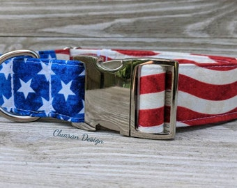 Stars and Stripes - Metal Buckle Dog Collar or House/Tag Collar - American Dog Collar - Patriotic Dog Collar - Memorial Day Dog Collar