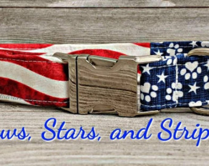 Paws and Stars - Metal Buckle Dog Collar or House/Tag Collar - American Dog Collar - Patriotic Dog Collar - Memorial Day Dog Collar