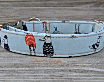 Ahoy Seagulls - Metal Buckle Dog Collar or House/Tag Collar - Seagulls Dog Collar - Nautical Dog Collar - Fabric Dog Collar