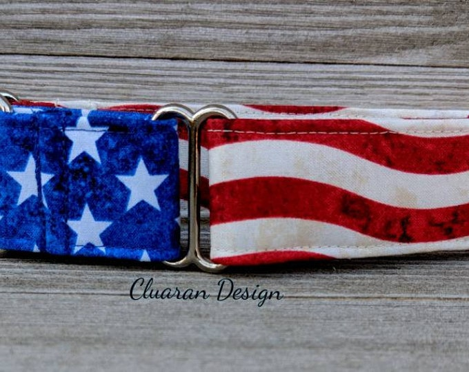 American Flag Martingale Dog Collar - Memorial Day Martingale Dog Collar - Greyhound Collar - Whippet Collar - Italian Greyhound Collar