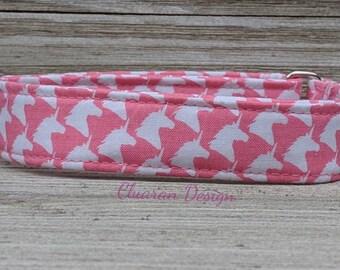 Pink Unicorn Houndstooth - Metal Buckle Dog Collar or House/Tag Collar - Unicorn Dog Collar - Houndstooth Dog Collar - Fashion Dog Collar