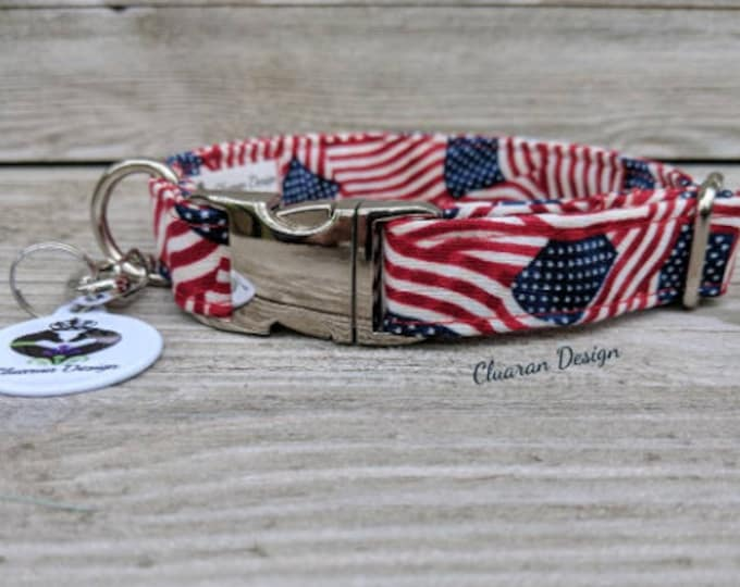 Mini Flags - Metal Buckle Dog Collar or House/Tag Collar - American Dog Collar - Flag Dog Collar - Memorial Day Dog Collar