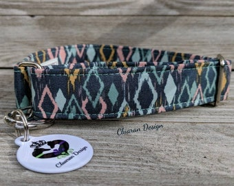 Pastel Diamonds - Metal Buckle Dog Collar or House/Tag Collar - Boho Dog Collar - Bohemian Dog Collar - Fabric Dog Collar -Dog Gift