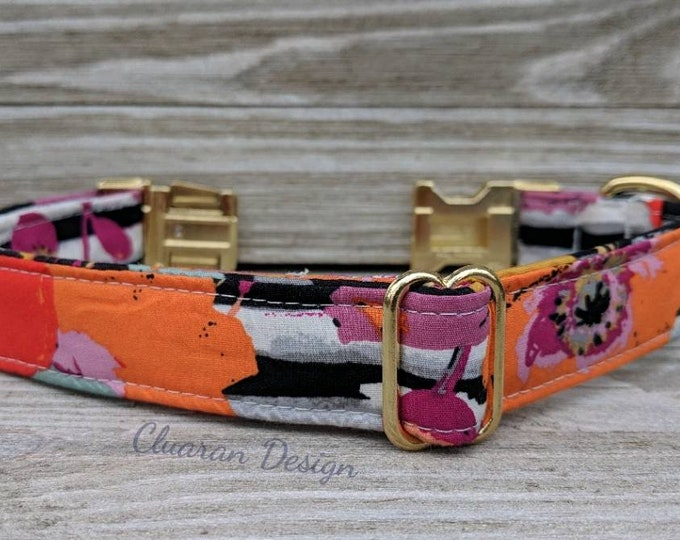 Featured listing image: Pastel Poppy Flowers (Poppies) on Black and White Stripes Quick Release Buckle Dog/Puppy Collar