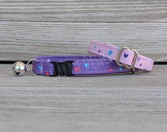 Hearts - Breakaway Buckle Cat Collar - Hearts Cat Collar - Hearts Kitten Collar - New Kitten Gift - Cat Gift -Fashion Cat Collar