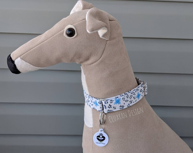 White with Blue Floral - Metal Buckle Dog Collar or House/Tag Collar - Easter Dog Collar - Spring Dog Collar - Fashion Dog Collar - Dog Gift