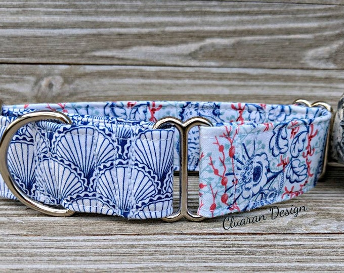 Blue Nautical Reef - Martingale Dog Collar - Ocean Martingale Dog Collar - Greyhound Collar - Whippet Collar - Italian Greyhound Collar