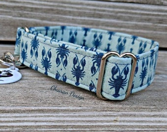 Lobsters / Crawdads - Metal Buckle Dog Collar or House/Tag Collar - Nautical Collar