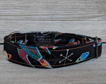 Rockets on Black - Metal Buckle Dog Collar or House/Tag Collar - Space Dog Collar - Planets Dog Collar - Rockets Dog Collar