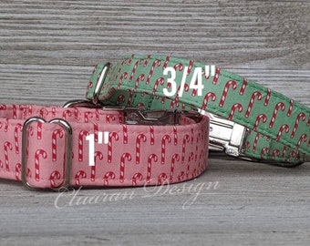 Winter Red Background with Candy Canes- Metal Buckle Dog Collar or House/Tag Collar - Puppy Collar - Fabric Dog Collar - Dog Present