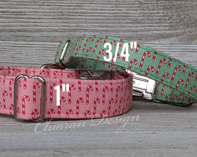 Winter Green Background with Candy Canes- Metal Buckle Dog Collar or House/Tag Collar - Puppy Collar - Fabric Dog Collar - Dog Present