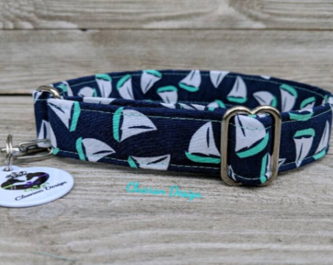Nautical Sailboats on Navy - Metal Buckle Dog Collar or House/Tag Collar - Nautical Collar