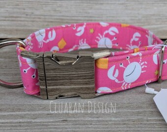 Crabs on the Beach Pink - Orange - Metal Buckle Dog Collar or House/Tag Collar - Nautical Collar