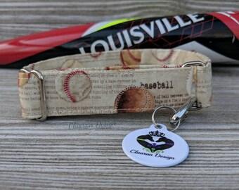 Baseballs - Metal Buckle Dog Collar or House/Tag Collar - Baseball Dog Collar - Sports Dog Collar - Fabric Dog Collar - Baseball Dog Gift