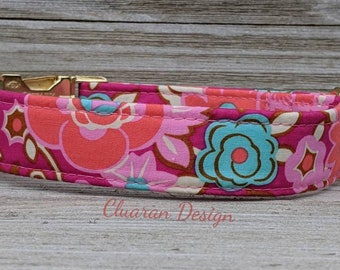 Pink Floral Bliss - Metal Buckle Dog Collar or House/Tag Collar - Floral Dog Collar - Rose Dog Collar - Fabric Dog Collar - Girl Dog Collar
