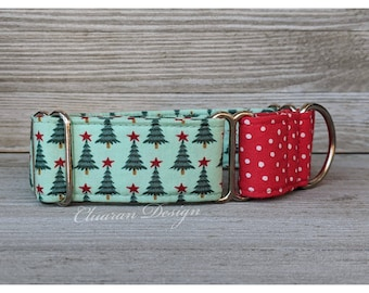 Christmas Trees Martingale Dog Collar - Winter Martingale Dog Collar - Greyhound Collar - Whippet Collar - Italian Greyhound Collar