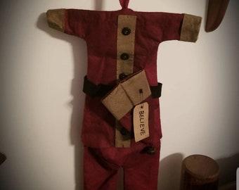 Grungy Primitive Decor SANTA COAT,Christmas Cupboard Hanger Shabby,Santa Claus