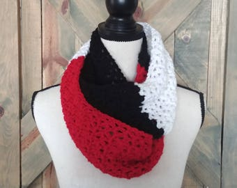Three Color Block Crochet Infinity Scarf, Cowl, Red Black White, Infinity Scarf