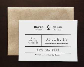 Minimalist Typewriter Wedding Save the Dates