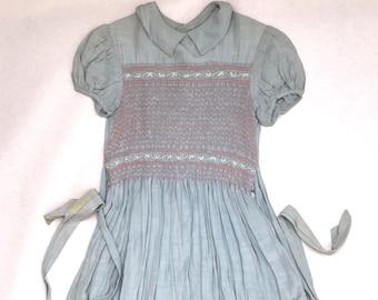 3b27d6d1690 Antique Girls Hand Made Smock Dress Size 5