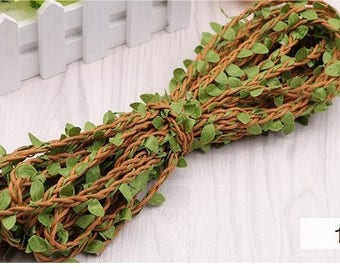 Leaves and rattan weaving Decorative rope, 4 styles, by the 11 yard