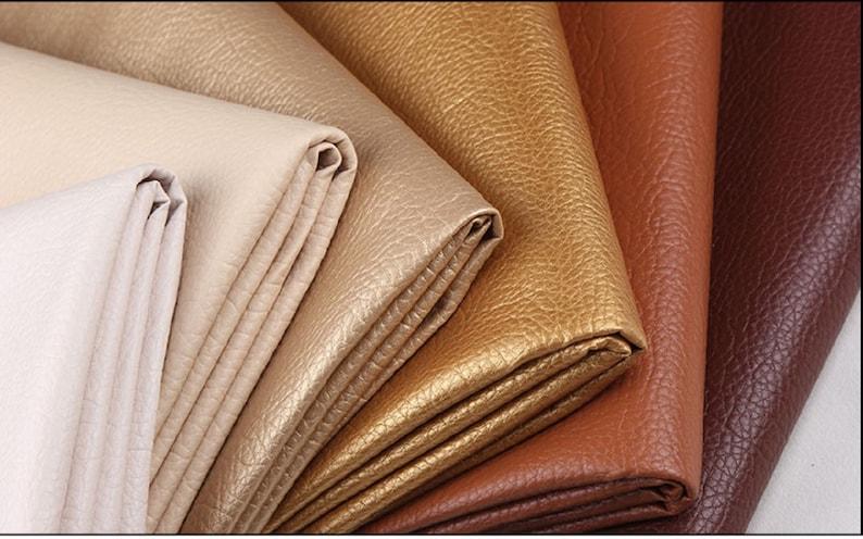 Lychee Skin Faux Leather Fabric PU Leather Fabric Fake image 0