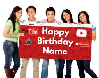 YouTube Happy Birthday Custom Vinyl Banner Poster Print Personalized