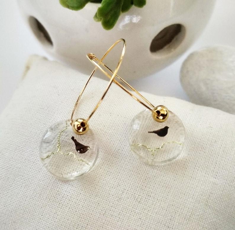 jewel nature-inspired,minimalist Creole earrings bird on a branch fine,golden boho wedding jewel gold-plated