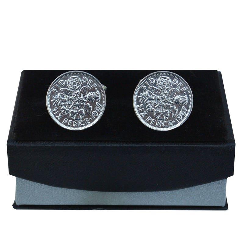 Handcast Fine Pewter 1967 Sixpence Cufflinks By William Sturt